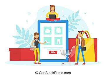 achat, clients, marchandises, illustration, ligne, concept, ...