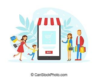 achat, clients, marchandises, illustration, smartphone, ...
