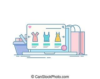 achat, concept, achats, paquet, ligne, laptop., illustration, isolé, application, informatique, par, arrière-plan., fond, internet, store., blanc, cart.