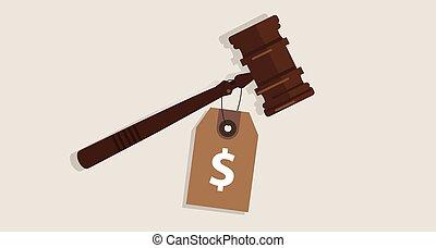 achat, corrompu, justice, marteau, coût, signe dollar, procès, corruption, concept, étiquette, jugement, enchère, droit & loi