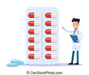 achat, docteur, medicines., gai, offres, prescribes, sourire, pharmacien, medication.