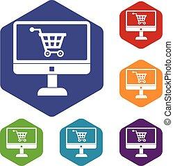 achat, ensemble, magasin ligne, icônes