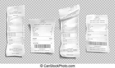 achat, espèces, facture, note, papier, ensemble, reçu