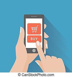 achat, holing, bouton, main, téléphone, écran, intelligent