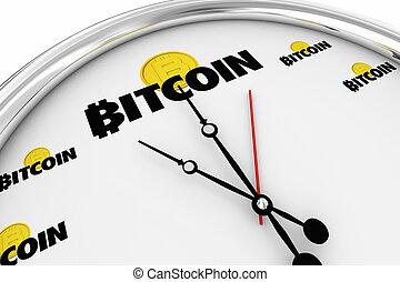 achat, horloge, argent, temps, bitcoin, illustration, cryptocurrency, numérique, maintenant, 3d