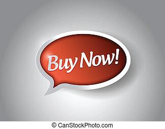 achat, illustration, signe, conception, message, maintenant