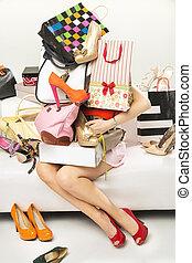 achat, jeune femme, abondance, essayer, accesories