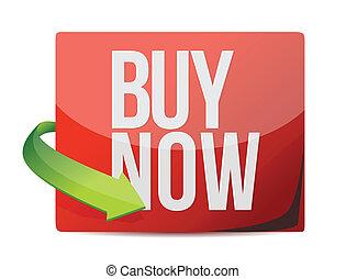 achat maintenant, conception, signe., illustration
