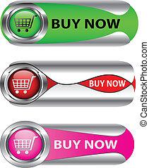 achat maintenant, ensemble, bouton, métallique