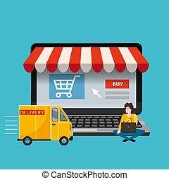 achat, marchandises, séance, concept, ordinateur portable, écran, jeune, illustration, livraison, vecteur, par, ligne, marchandises, informatique, magasin, ouvert, ton, homme