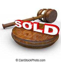 achat, mot, enchère, vendu, -, proclaims, vente, marteau, ...