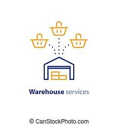 achat, multiple, option, expédition, une, entrepôt, services, panier, icône
