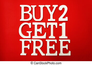 achat, obtenir, vente, deux, gratuite, une, fond, promotion, rouges