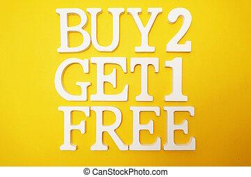 achat, obtenir, vente, gratuite, une, fond jaune, promotion, deux