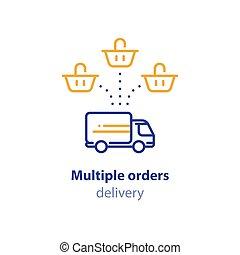 achat, paquet, option, expédition, une, services, panier, multiple, icône