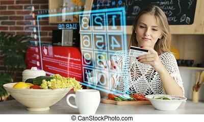 achat, par, ligne, interface, hologramme, panneau