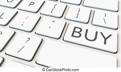 achat, rendre, informatique, key., clavier, conceptuel, blanc, 3d