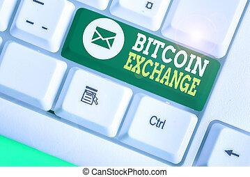 achat, signification, bitcoin, vendre, exchange., bitcoins., texte, où, concept, écriture, numérique, commerçants, marché, boîte