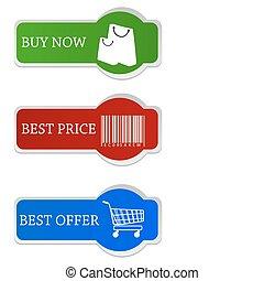 achats, étiquettes
