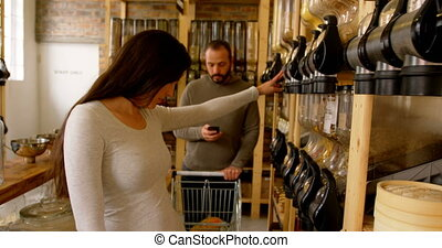 achats, 4k, couple, supermarché, romantique