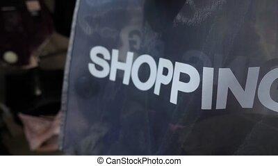 achats, 4k., sac, ralenti, store., habillement, vêtements