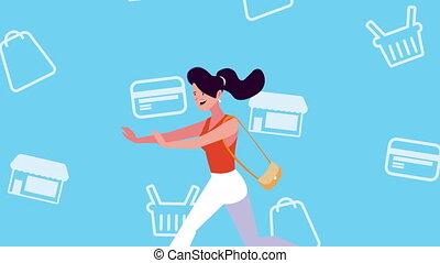 achats, acheteur, femme, client, courant, icônes