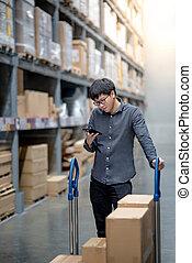 achats, acheteur, vérification, liste, asiatique, entrepôt