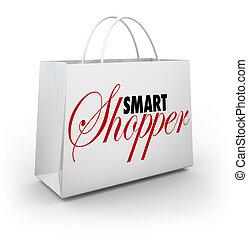 achats, acheteur, vente, sac, magasin, achat, intelligent, marchandise