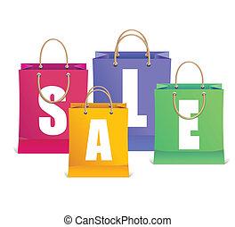 achats, aimer, étiquettes, vente, sac, vecteur