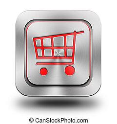 achats, aluminium, charrette, bouton, lustré, icône, signe