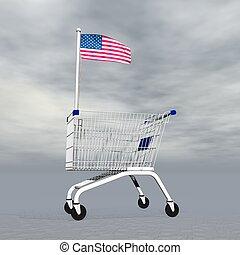 achats, américain, -, render, 3d