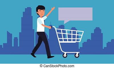 achats, animation, homme affaires, charrette