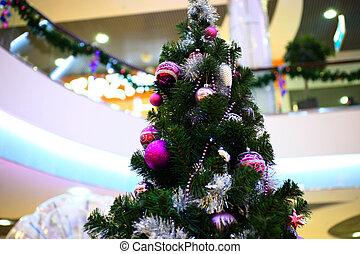 achats, arbre, centre commercial, intérieur, décoré, noël