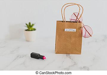 achats, autour de, sac, articles, sommet, il, quotidiennement, mélange, table, élégant, marbre