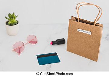 achats, autour de, sac, articles, sommet, il, quotidiennement, marbre, mélange, table, élégant, paiement, carte