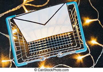 achats, béton, entouré, enveloppe, charrette, lumières, bureau, fée, email