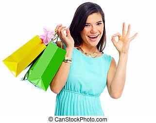 achats, bags., femme, heureux
