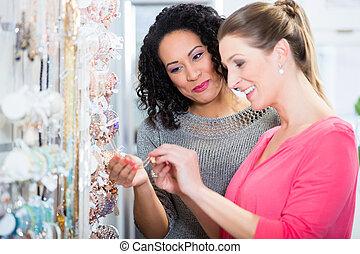 achats, bijouterie, deux, centre commercial, département, amis