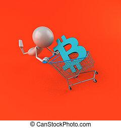 achats, -, bitcoin, illustration, 3d