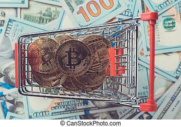 achats, bitcoins, charrette