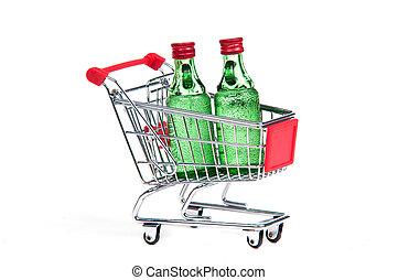 achats, bouteilles verre, deux, charrette
