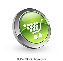 achats, bouton, -, sphère verte