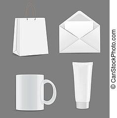 achats, brandin, tasse, enveloppe, vide, sac, publicité