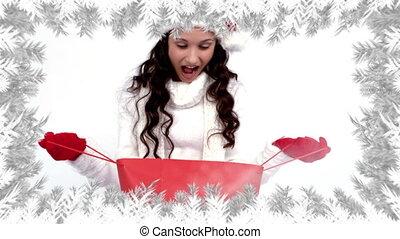 achats, cadeau, branches, femme, noël, santa, arbre