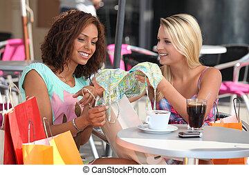 achats, café, amis, comparer