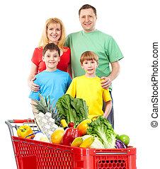achats, cart., famille, heureux