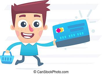 achats, carte, plastique