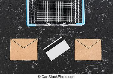 achats, cartes, paiement, panier, bulletins, email, communication, commercialisation, icônes