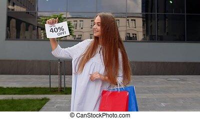 achats, cent, ligne, texte, gai, projection, advertisement., girl, fermé, haut, bas, prix, 40