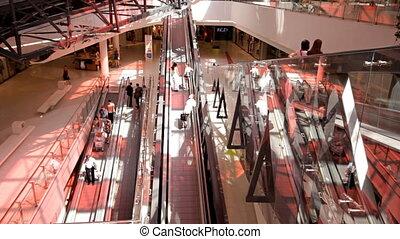 achats, centre,  escalator